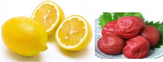 クエン酸は、レモンや梅干しなどの酸っぱい食べ物に含まれています。