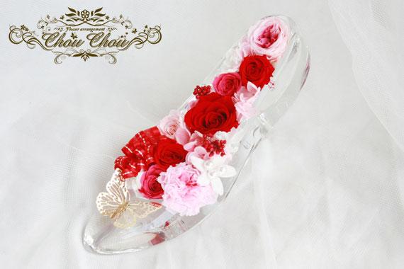 ディズニープロポーズ ガラスの靴 本物 シンデレラ プリザーブドフラワー 蝶 販売