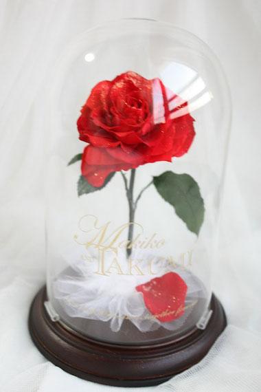 美女と野獣 1輪の薔薇 ガラスドーム 刻印 プリザーブドフラワー ディズニー プロポーズ ウェディング