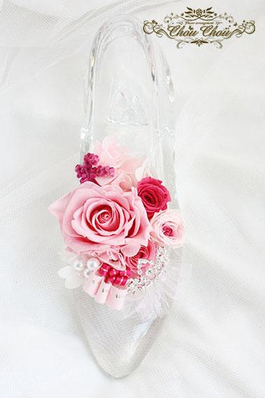 ガラスの靴 シンデレラ 握手会 祝花 楽屋花 フラスタ 幕張メッセ 刻印 オーダーフラワー シュシュ chouchou