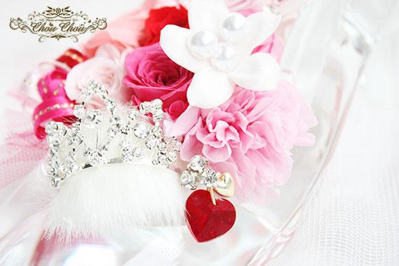 入籍祝い ウェディング プレゼント ガラスの靴 シンデレラ プリザーブドフラワー バレンタイン オーダーフラワー  シュシュ chouchou