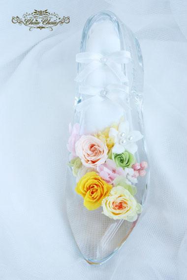 ガラスの靴 プロポーズ リングピロー オーダー ウェディング 刻印 隠れミッキー 花屋