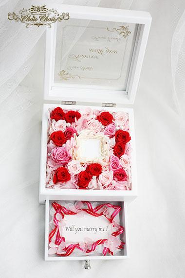 プロポーズ ジュエリーボックス ウェスティンホテル リングホルダー  リングケース  薔薇 刻印 メッセージ オーダーフラワー  シュシュ chouchouu