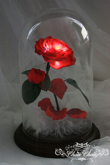 ウェディング 結婚式 サプライズ プレゼント 光る 一輪のバラ LED ガラスドーム  リングピロー オーダーフラワー  シュシュ