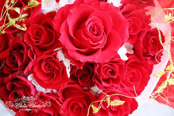 プロポーズ 赤薔薇 プリザーブドフラワー 花束 ミラコスタ オーダーフラワー  シュシュ chouchou 舞浜花屋