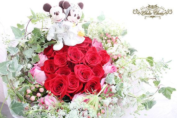 ディズニー プロポーズ ミラコスタ ウェディング ミッキー ミニー 花束 赤薔薇 ピンクのバラ オーダーフラワー  シュシュ chouchou