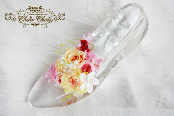 ディズニー プロポーズ ガラスの靴 リングピロー プリザーブドフラワー ミラコスタ ウェディング