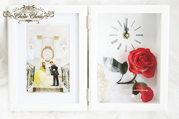 アンバサダーホテル 美女と野獣 ウェディング 結婚 1周年 フォトフレーム 時計 プリザーブドフラワー オーダーフラワー シュシュ chouchou 舞浜花屋