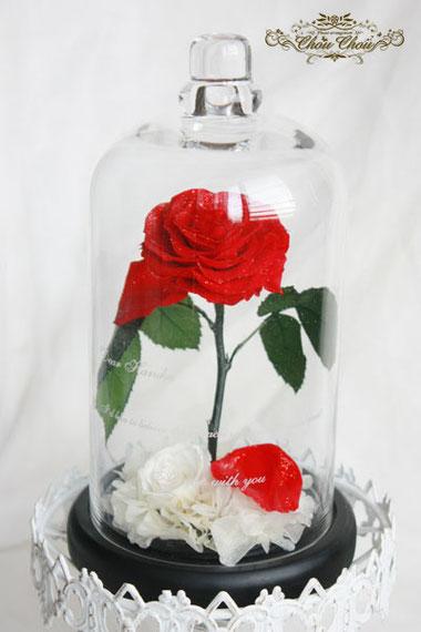 プロポーズ 美女と野獣 薔薇 ガラスドーム オーダーフラワー プリザーブドフラワー