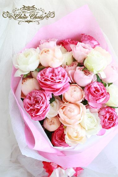 ディズニープロポーズ 花束 ミラコスタ イングリッシュローズ オールドローズ 薔薇 花屋 舞浜 浦安