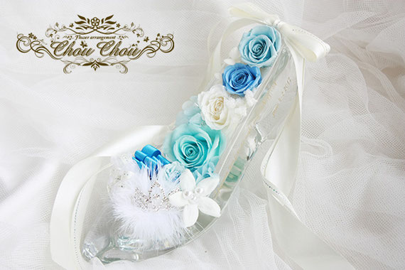 プロポーズ ガラスの靴 シンデレラ プリザーブドフラワー 刻印 ティアラ オーダーフラワー  シュシュ ミラコスタ