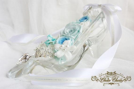 ガラスの靴 ディズニー プロポーズ ミラコスタ プリザーブドフラワー ティアラ ハート
