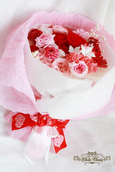 プロポーズ プリザーブドフラワーの花束 薔薇 ディズニー ミラコスタ