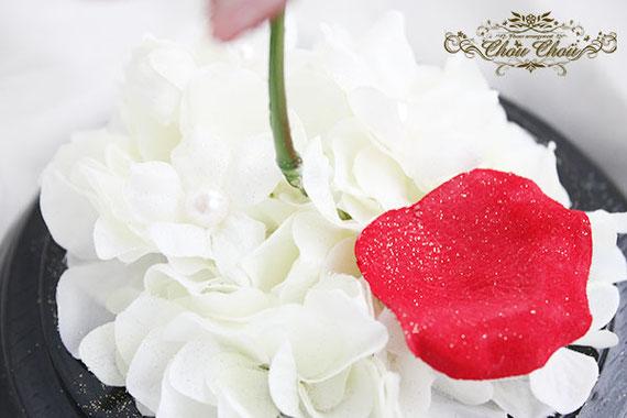 美女と野獣 ウェディング 結婚式 装飾 ウェルカムフラワー 一輪のバラ ガラスドーム  オーダーフラワー  シュシュ chouchou
