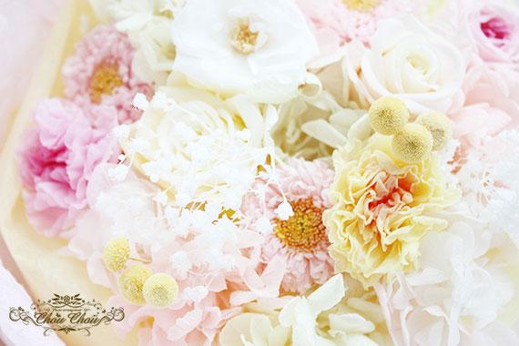 ディズニー  プロポーズ ミラコスタ プリザーブドフラワー 花束 ピンク イエロー オーダーフラワー  シュシュ chouchou