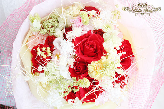 ディズニープロポーズ ミラコスタ プリザーブドフラワー 花束 赤薔薇 オーダーフラワー シュシュ chouchou 舞浜花屋