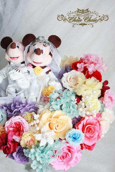 ウェディング ディズニー プロポーズ  ブーケ 花束 ミッキー&ミニー プリザーブドフラワー
