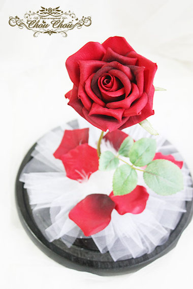 プロポーズ 美女と野獣 一輪の薔薇 ガラスドーム  刻印 オーダーフラワー  シュシュ chouchou  舞浜花屋