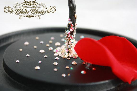 ディズニープロポーズ 美女と野獣 1輪のバラ ガラスドーム スワロフスキー プリザーブドフラワー