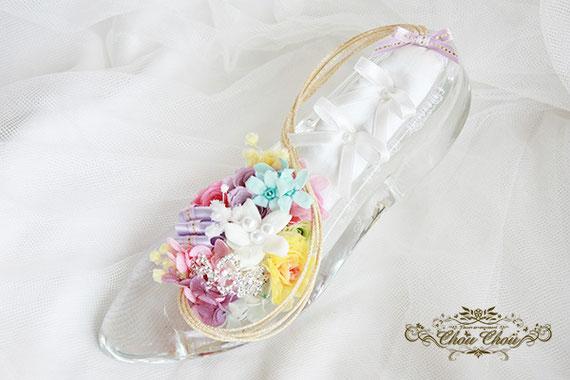 ディズニー プロポーズ ガラスの靴 シンデレラ ラプンツェル リングピロー プリザーブドフラワー 刻印 オーダーフラワー  シュシュ