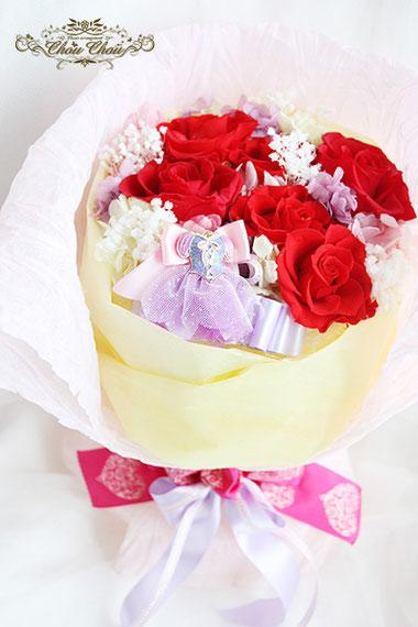 ディズニー  プロポーズ ミラコスタ プリザーブドフラワー 花束 赤薔薇 ラプンツェル プリンセス オーダーフラワー  シュシュ chouchou