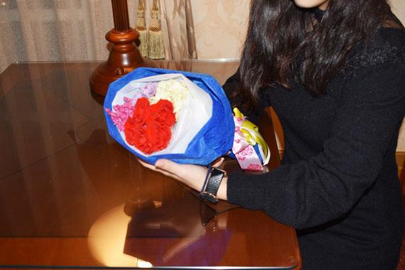 ディズニー 記念日 ミラコスタ 花束 プリザーブドフラワー ドナルド デイジー オーダーフラワー  シュシュ chouchou