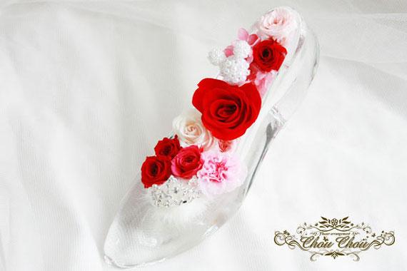 ガラスの靴 ディズニー ミッキー ティアラ プロポーズ プリザーブドフラワー ミラコスタ