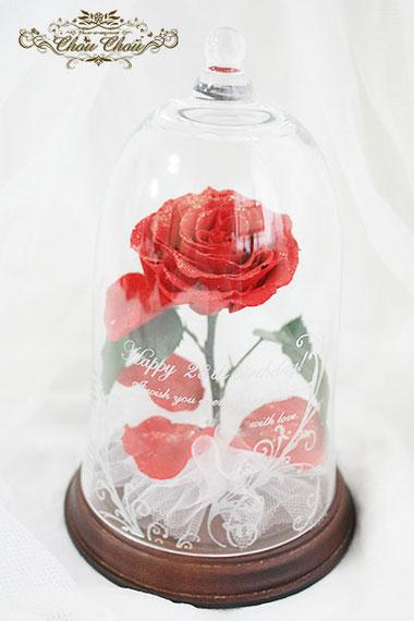 サプライズ 誕生日 プレゼント 一輪の赤薔薇 ガラスドーム  フラワードーム ローズドーム  刻印 オーダーフラワーシュシュ chouchou