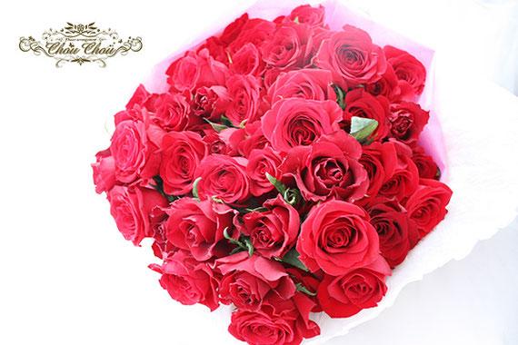 ディズニー プロポーズ 赤薔薇 花束 ミラコスタ 配達無料 オーダーフラワー  シュシュ chouchou 舞浜花屋