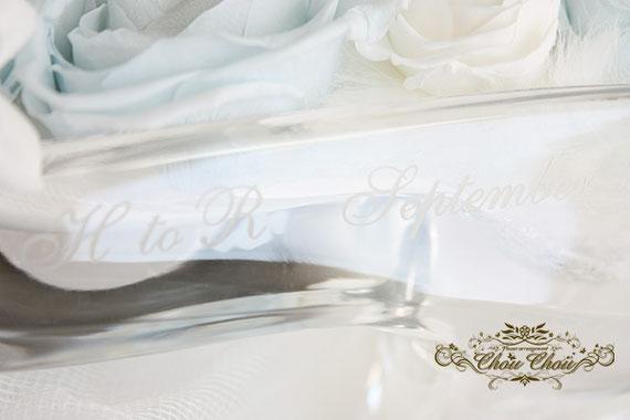 ディズニー プロポーズ アンバサダーホテル ガラスの靴 シンデレラ 刻印 プリザーブドフラワー オーダーフラワー  シュシュ chouchou 舞浜花屋