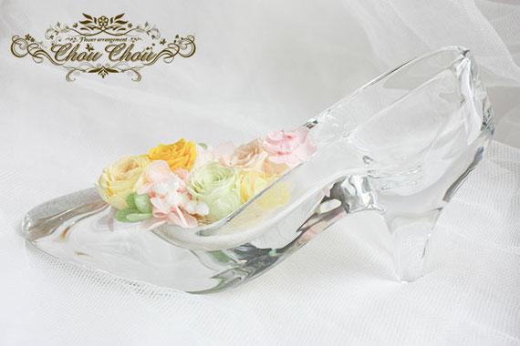 誕生日 プレゼント ディズニー アンバサダーホテル  ガラスの靴 プリザーブドフラワー オーダーフラワー  シュシュ chouchou