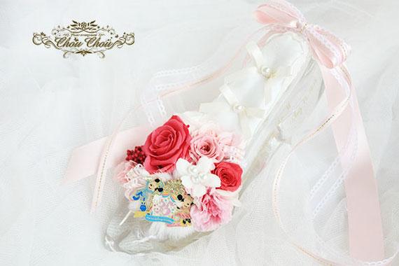 ディズニー プロポーズ ガラスの靴 アンバサダーホテル リングピロー プリザーブドフラワー オーダーフラワー  シュシュ chouchou