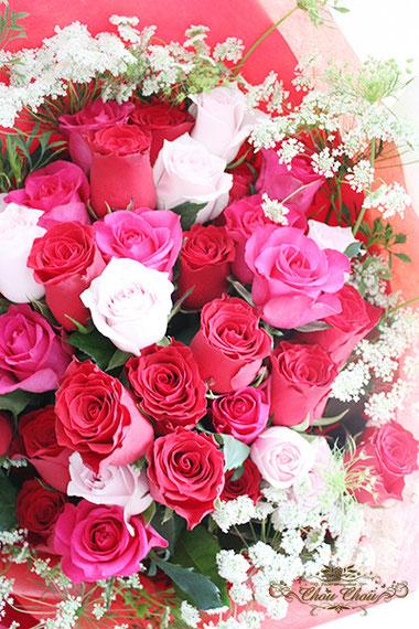 ディズニー プロポーズ ディズニーランドホテル 40本の薔薇 花束 意味 花言葉 オーダーフラワー シュシュ chouchou