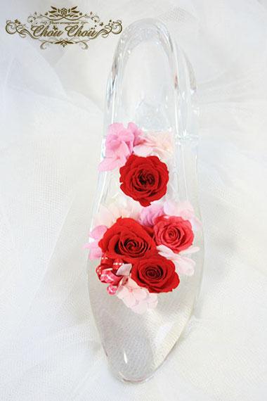 ディズニープロポーズ ガラスの靴 ミラコスタ プリザーブドフラワー エンゲージリング プロポーズ リング リングケース  リングホルダー  リングピロー
