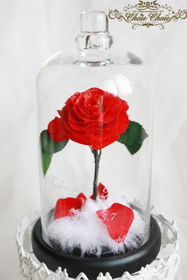 美女と野獣 1輪のバラ ガラスドーム ディズニープロポーズ プリザーブドフラワー 販売