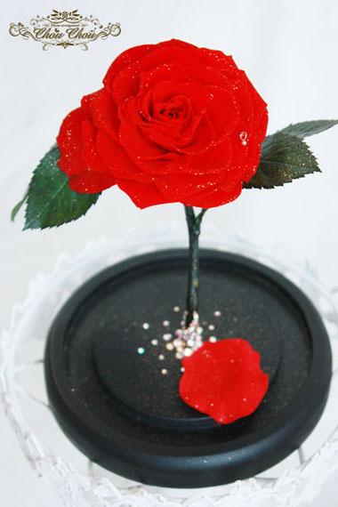 美女と野獣 薔薇 ガラスドーム プロポーズ ディズニー プリザーブドフラワー オーダー スワロフスキー リングホルダー