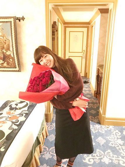 ディズニー プロポーズ 40本 赤薔薇 花束 ミラコスタ 配達 オーダーフラワー  シュシュ chouchou