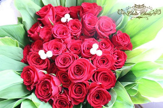 誕生日 薔薇 花束 赤薔薇 ミラコスタ 40本 配達 オーダーフラワー  シュシュ chouchou 舞浜花屋