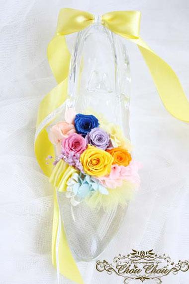 楽屋花 ガラスの靴 誕生日 お祝い花 プリ楽屋花 ガラスの靴 誕生日 お祝い花 プリザーブドフラワー オーダーフラワー chouchouザーブドフラワー オーダーフラワー chouchou