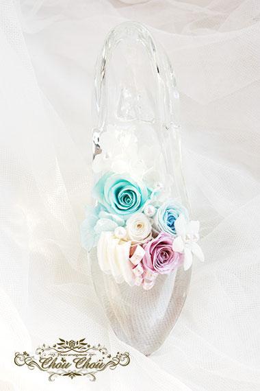 プロポーズ ディズニーランドホテル ガラスの靴 プリザーブドフラワー 刻印 オーダーフラワー シュシュ