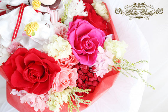 ディズニープロポーズ ミラコスタ ウェディング ミッキー ミニー プリザーブドフラワー 花束 オーダーフラワー シュシュ chouchou 舞浜花屋