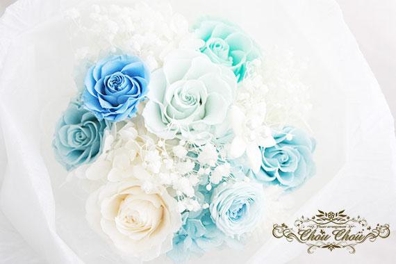 プロポーズ 花束 ディズニー ミラコスタ プリザーブドフラワー フラワーリング  ブルーローズ エンゲージリング  オーダーフラワー シュシュ