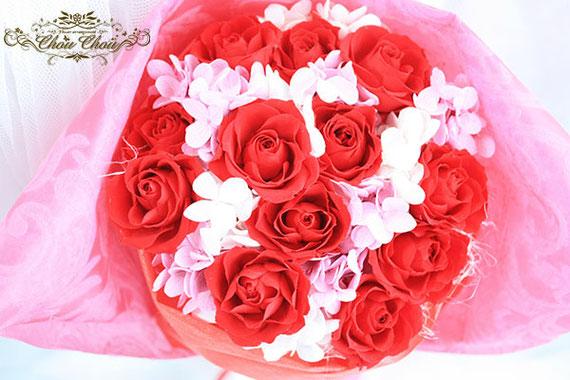 ディズニープロポーズ ダズンローズ 赤薔薇 12本 プリザーブドフラワー 枯れない花束 ミラコスタ 配達 オーダーフラワー  シュシュ chouchou
