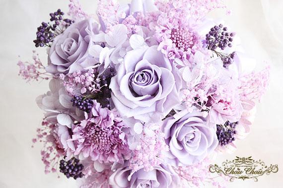 誕生日 プレゼント プリザーブドフラワー アレンジメント 紫 パープル オーダーフラワー  シュシュ chouchou