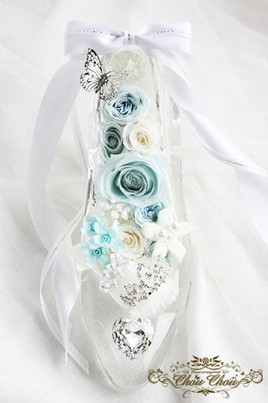プロポーズ ガラスの靴 シンデレラ プリザーブドフラワー スワロフスキー ティアラ 横浜ベイホテル東急 オーダーフラワー  シュシュ chouchou
