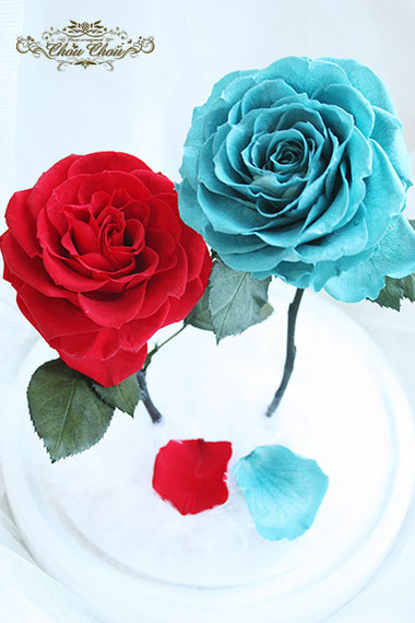 ディズニー プロポーズ ディズニーランドホテル 2輪の薔薇 ガラスドーム  美女と野獣 オーダーフラワー  シュシュ chouchou