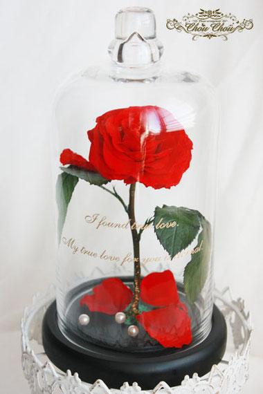 美女と野獣 プロポーズ ディズニー アンバサダー ガラスドーム 薔薇 プリザーブドフラワー
