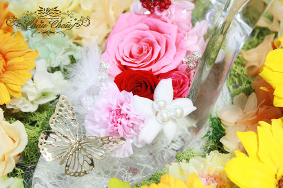 プロポーズ ディズニー ひまわり ガラスの靴 薔薇 カゴ プリザーブドフラワー