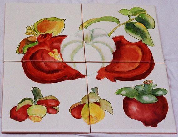 fruits exotiques - dim. 30 cmx30 cm epais. 4 mm - 40 €