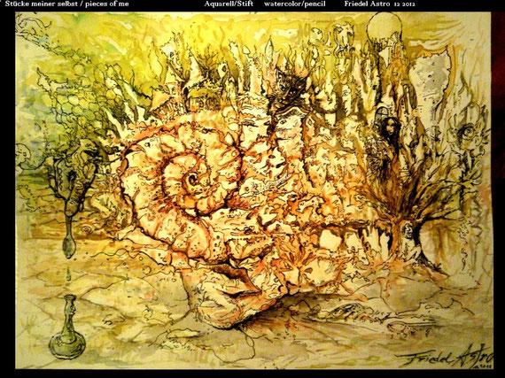 """Pieces of me"" Aquarell/Stift auf Papier"